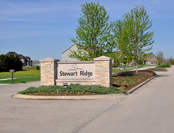 Entrance to Stewart Ridge community in Plainfield, IL