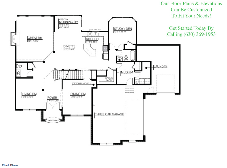 The Jonathan II custom floorplan, Floor 1